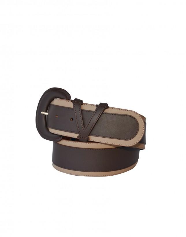 Cinturón ancho marrón y beige