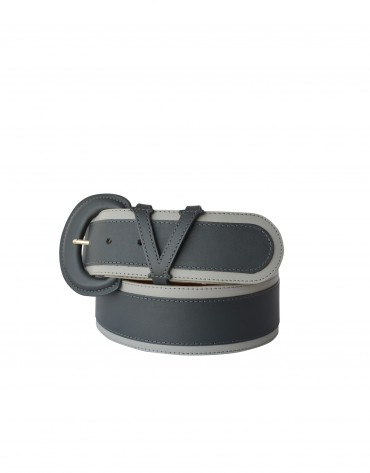 Wide grey belt with contrasting trim