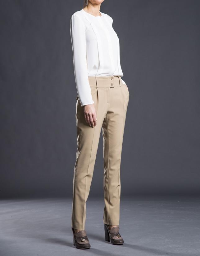 Pantalon à pinces, couleur camel