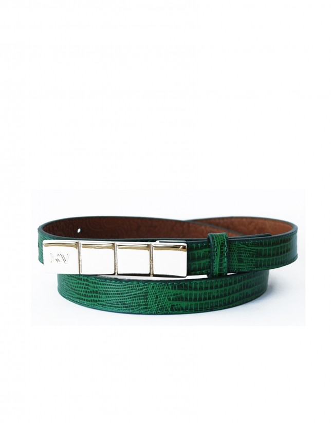 Cinturón verde estrecho hebilla dorada