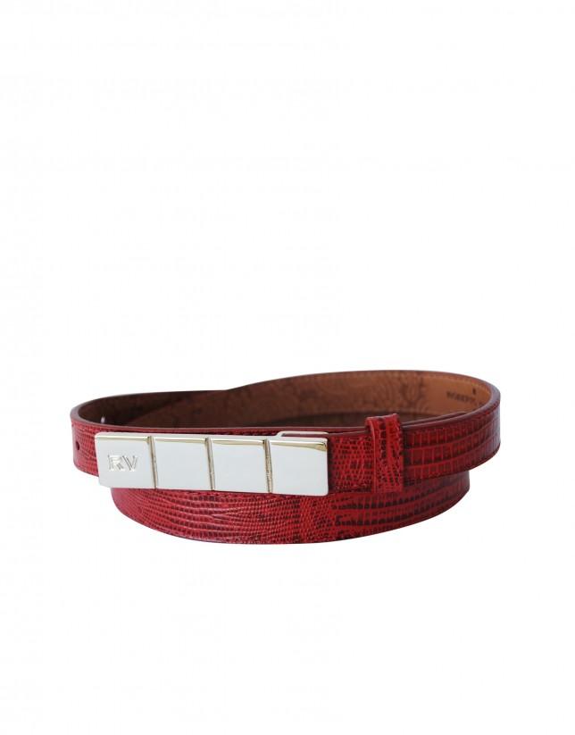 Cinturón estrecho rojo hebilla dorada