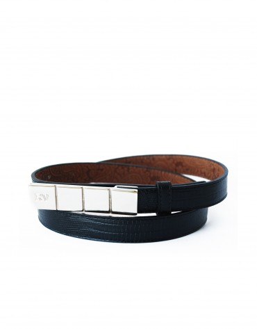 Narrow black belt with gold buckle