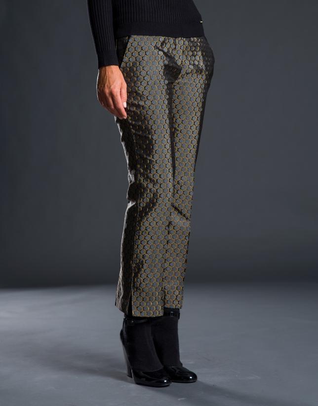 Pantalon cheville Jacquard et fantaisie