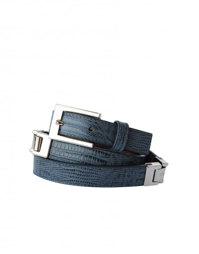 Cinturón estrecho gris hebilla y aplicaciones doradas