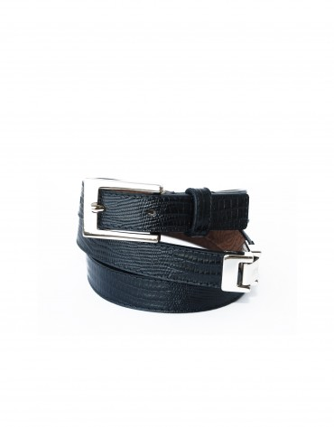Narrow lizard black belt golden buckle and applications