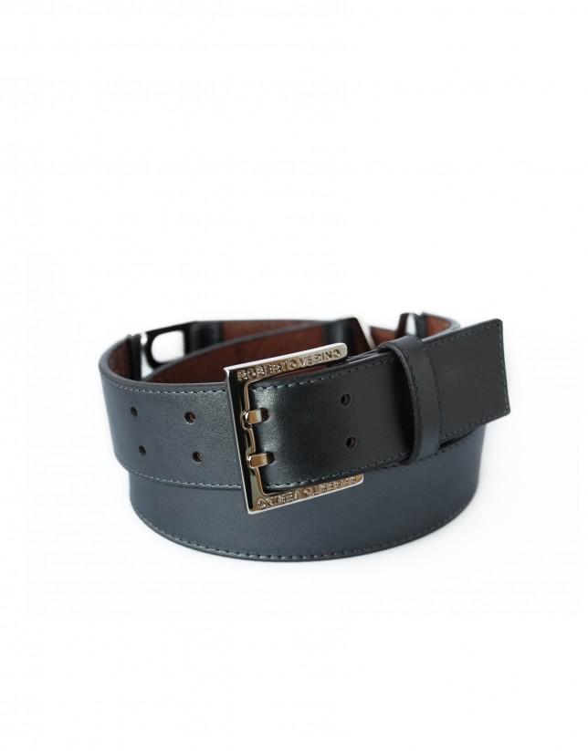 Wide grey leather belt