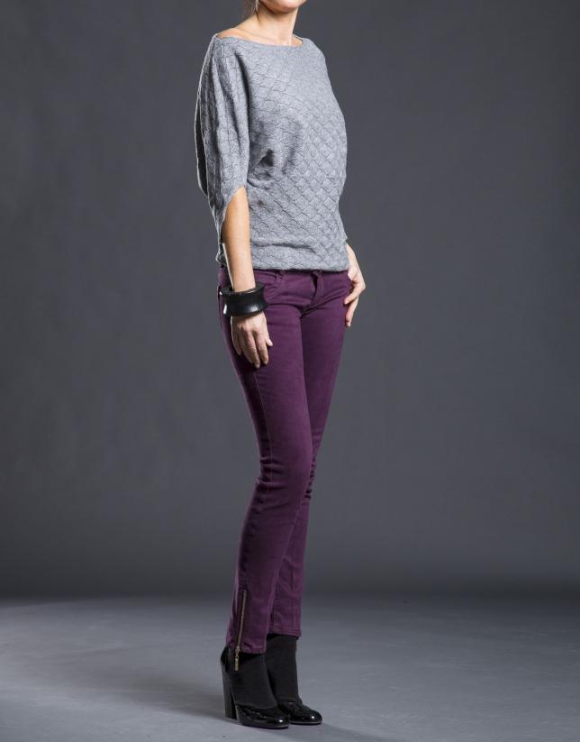 Pantalon slim avec poches aubergine