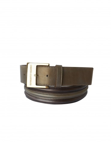 Wide metallic brown leather belt