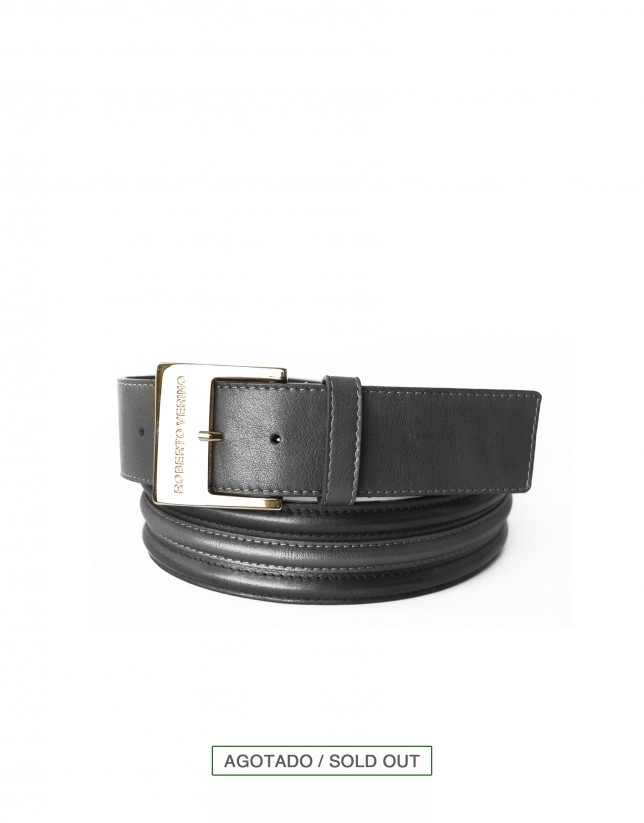 Wide metallic dark grey leather belt