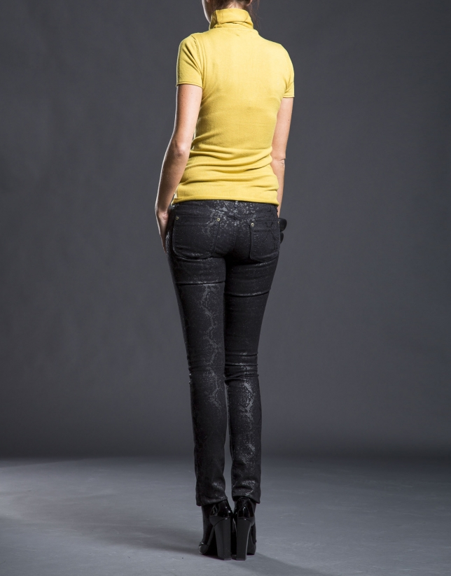 Narrow black jacquard pants