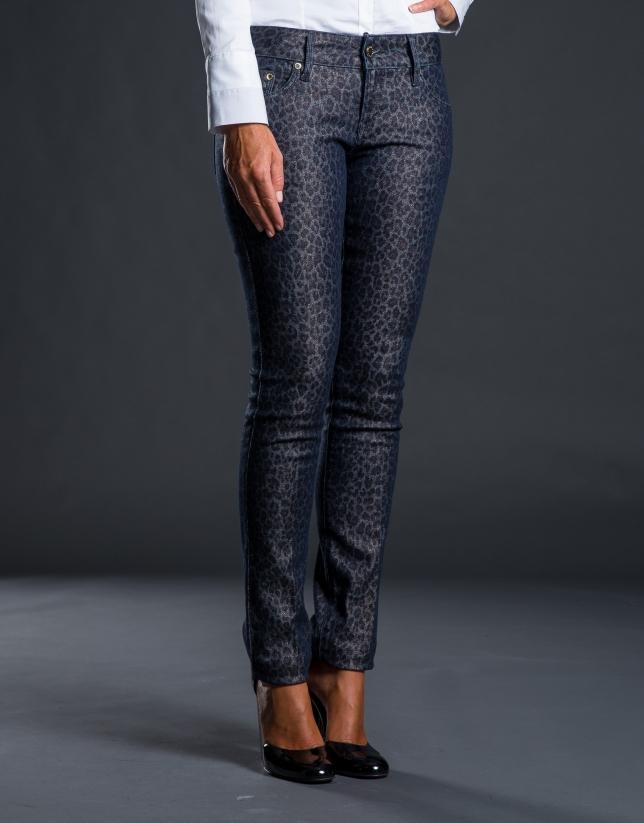 Pantalón gris estrecho jacquard