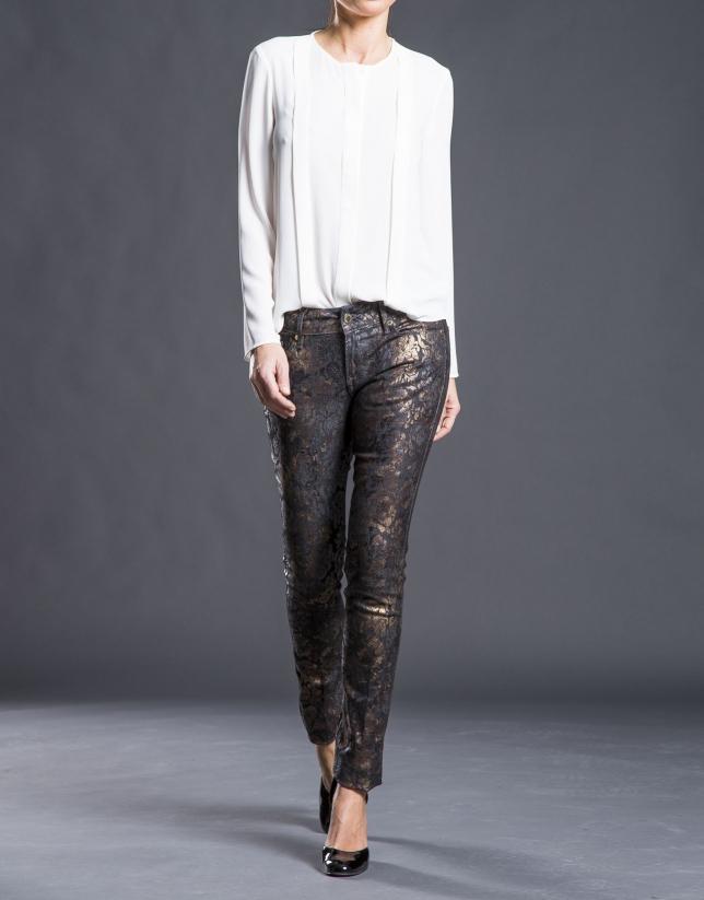 Pantalón bronce estrecho jacquard