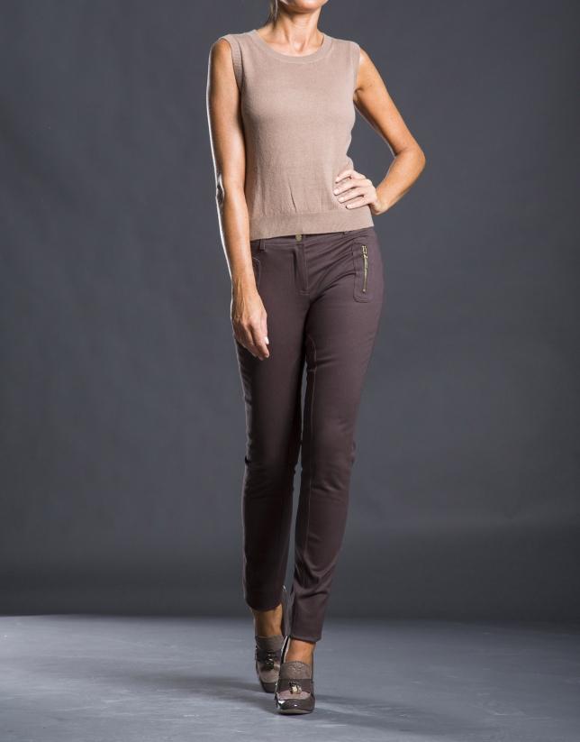 Pantalon slim avec poches marron