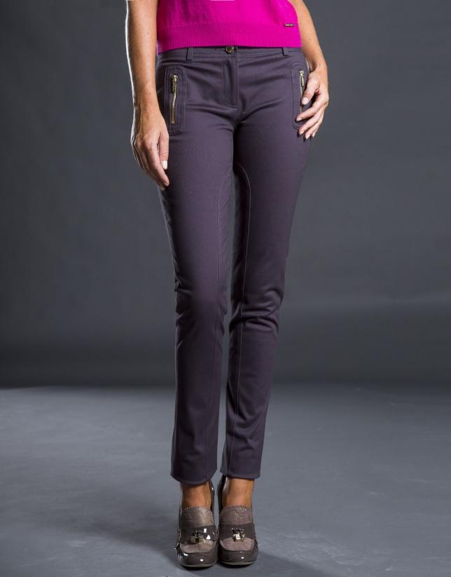 Pantalon slim avec poches gris