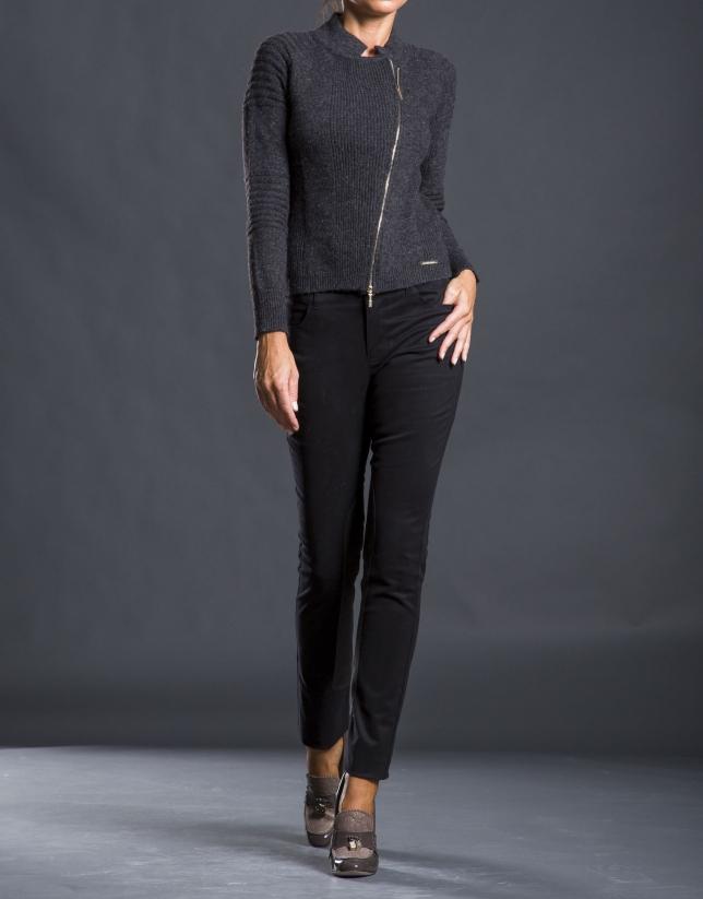 Black pants with inner leg reinforcements