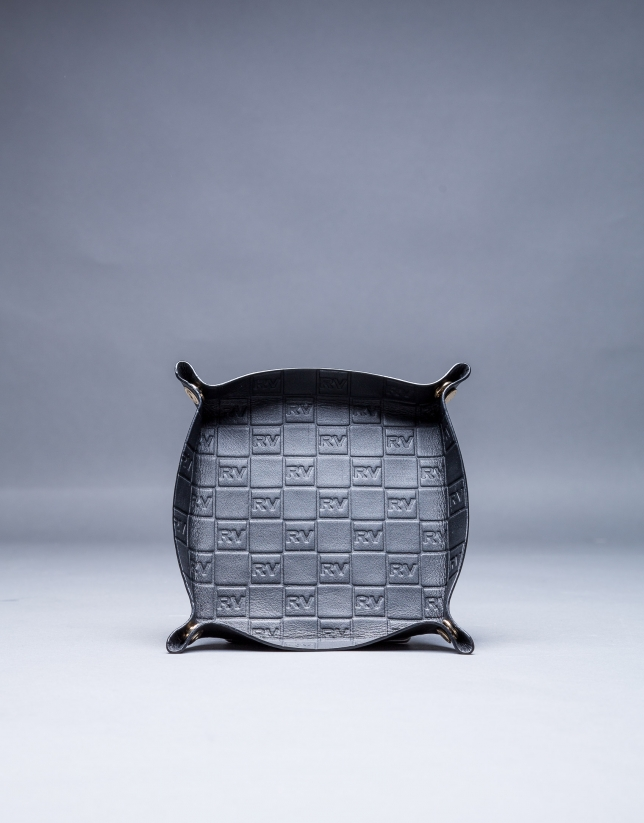 Vacía-bolsillos en piel negra con grabado RV