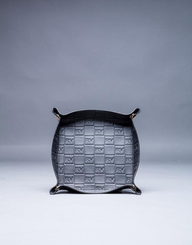 Vide-poches cuir noir avec gravure RV