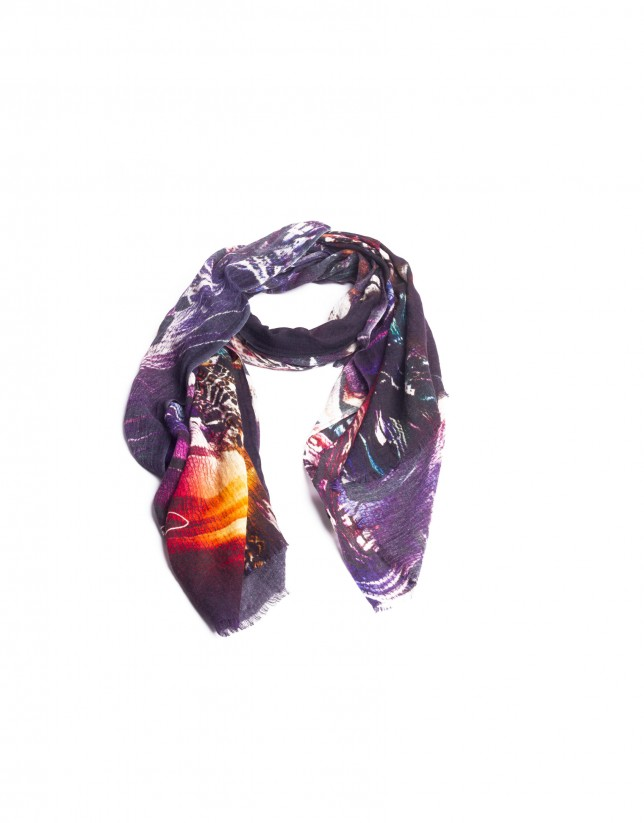 Abstract multi-color print scarf