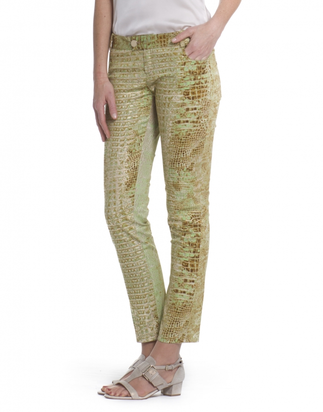 Pantalon stretch motif animal