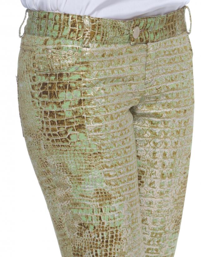 Pantalon stretch motif animal