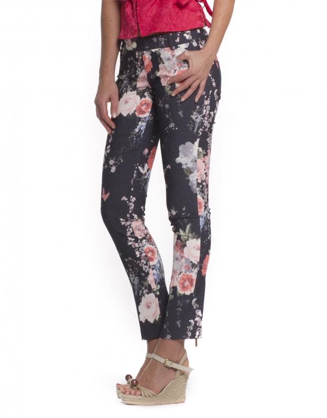 Jeans printed roses