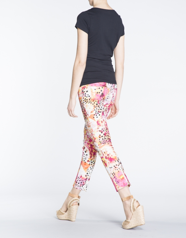 Abstract print stovepipe pants with 4 pockets