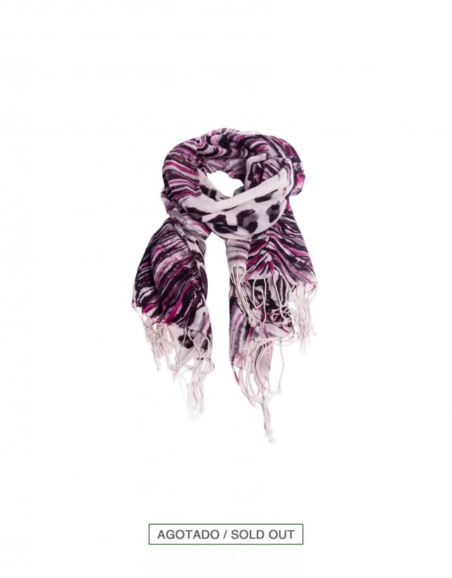 Bordeaux animal print wool scarf