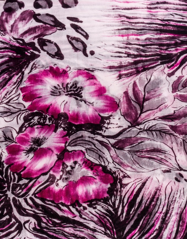 Foulard print animal floral burdeos