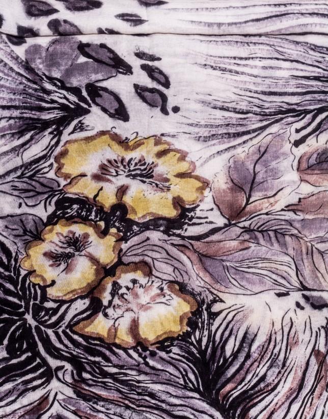 Foulard print animal floral verde