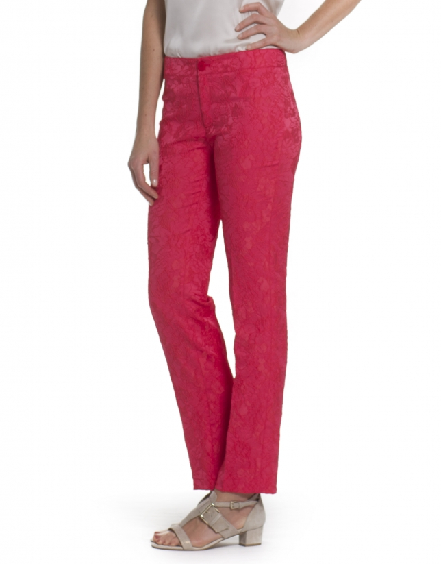 Pants in coral flowers