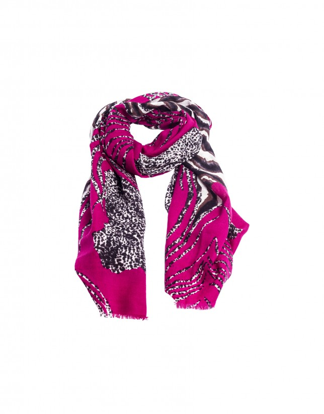 Deep pink animal print scarf