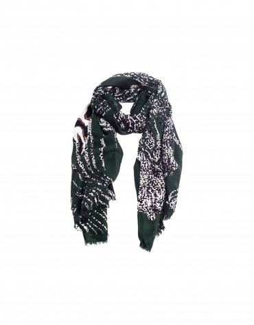 Dark green animal print scarf