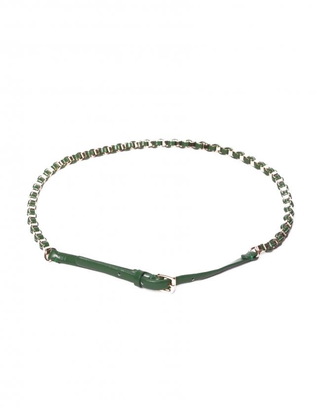 Green metallic braided belt