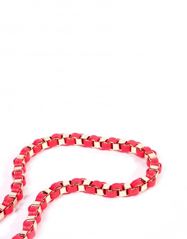 Pink metallic braided belt