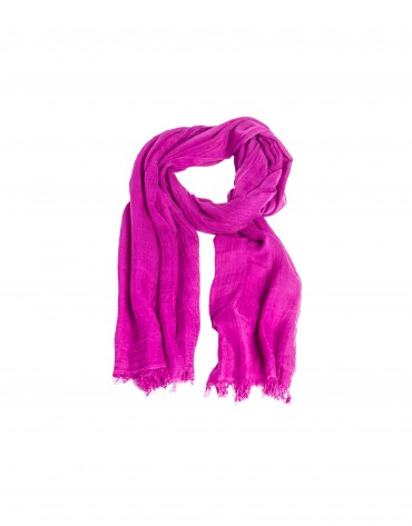 Fringed deep pink scarf.