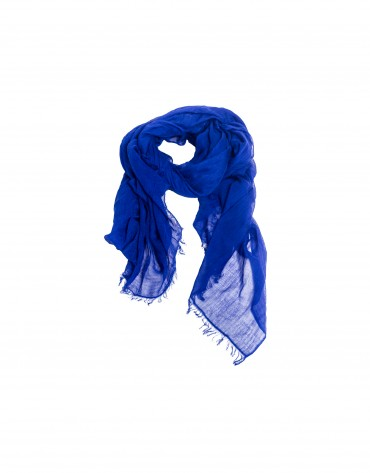 Fringed electric blue scarf.