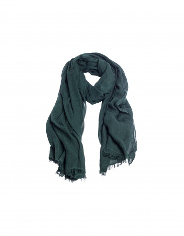 Fringed dark green scarf