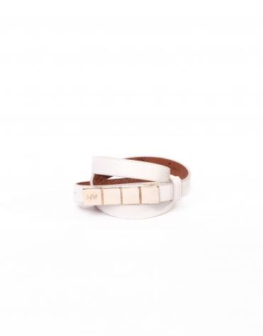 Cinturón estrecho en piel blanco roto