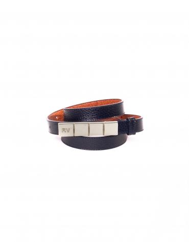Cinturón estrecho en piel azul marino