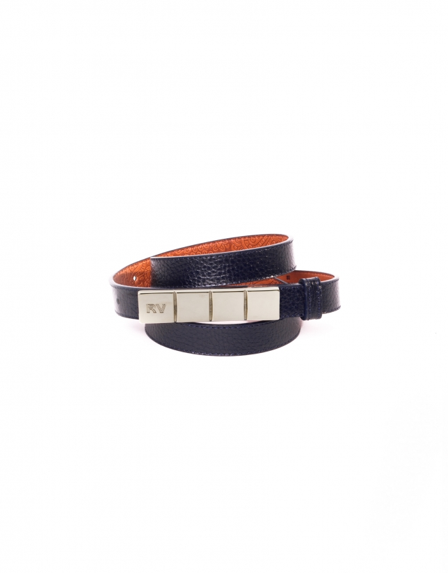Narrow navy blue leather belt