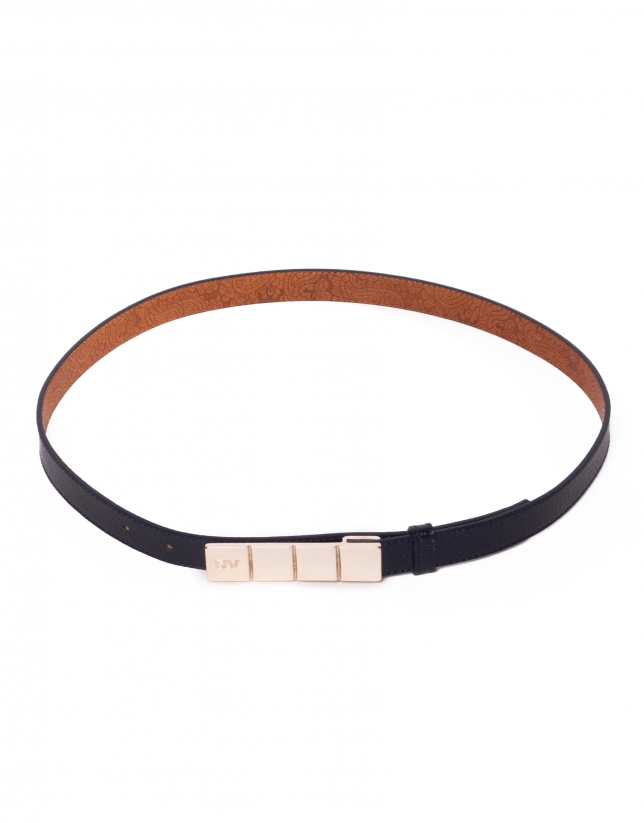 Narrow navy blue leather belt
