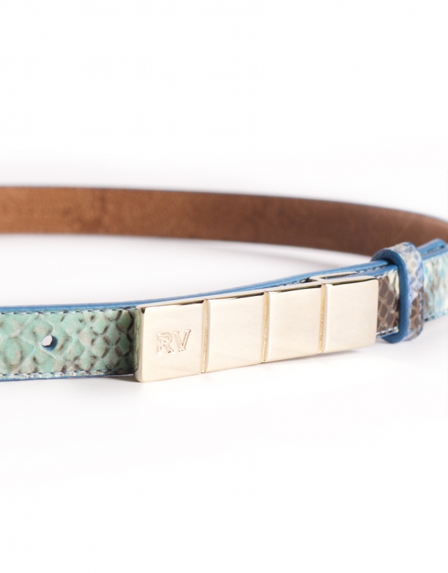Narrow blue leather belt