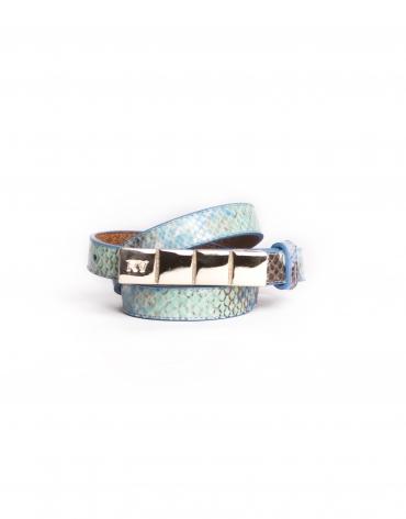 Cinturón estrecho piel azul