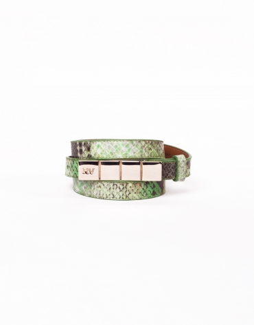 Narrow python leather belt
