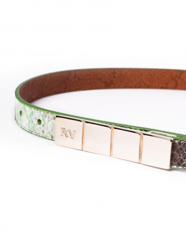 Narrow green leather belt