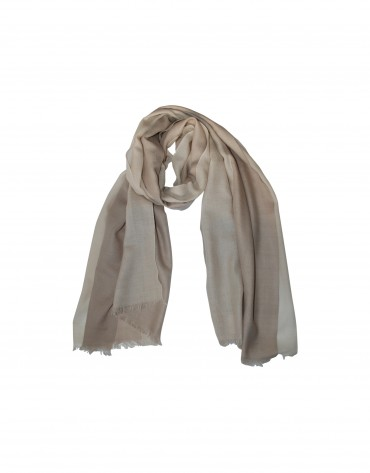 Two tone beige wool scarf.
