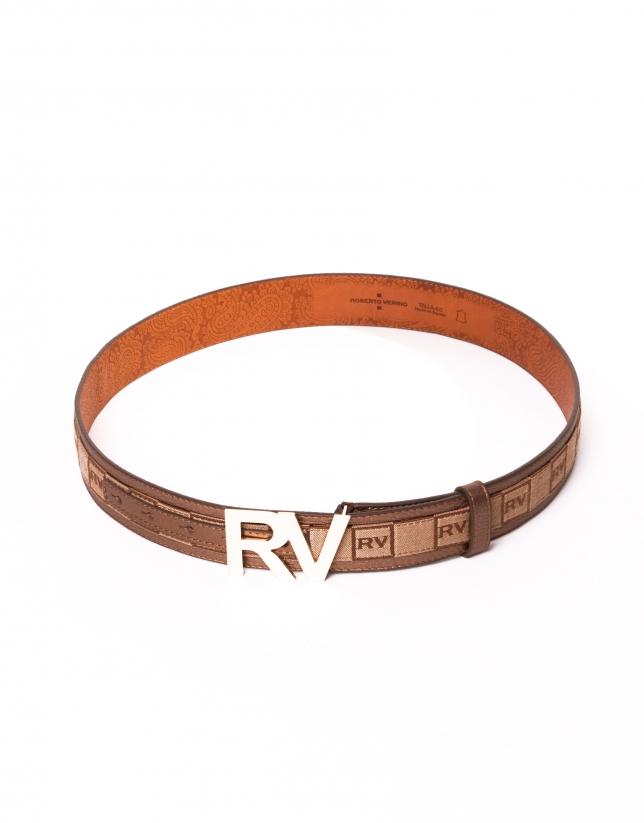 Ceinture cuir jacquard et boucle RV