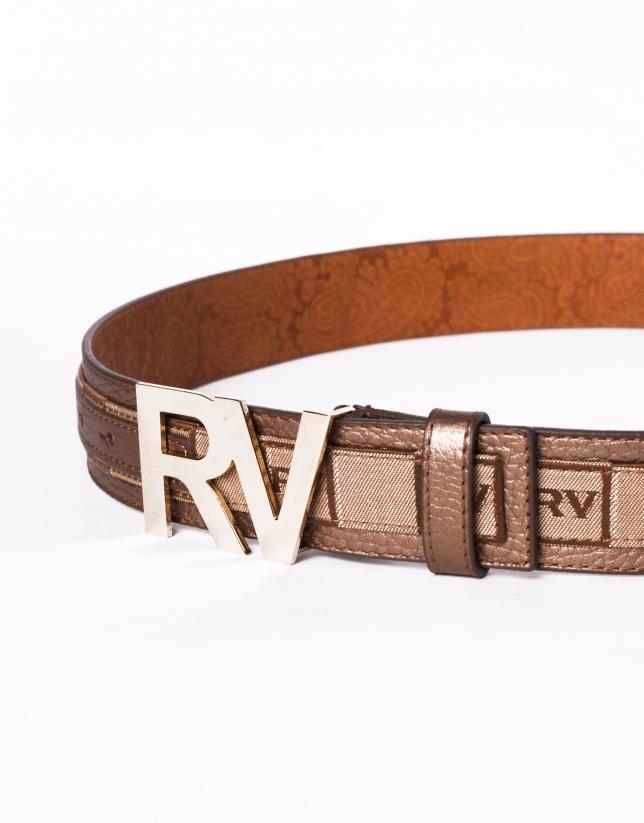 Cinturón en piel jacquard y hebilla RV