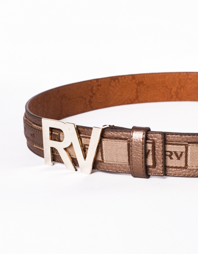 Jacquard leather belt with RV buckle