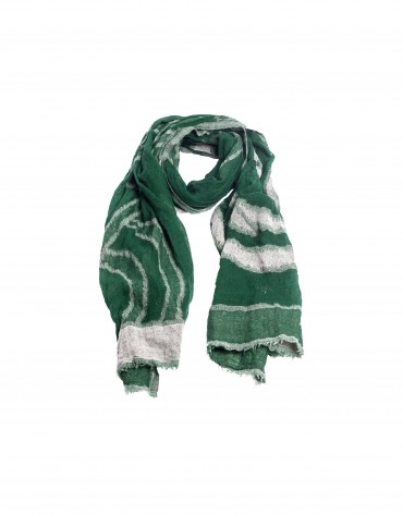 Green geometric print wool scarf.